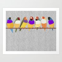 Lady Gouldian Finches Art Print