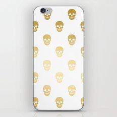 Gold Skull on white iPhone & iPod Skin