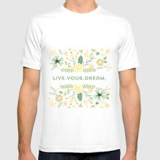 Live your dream SMALL Mens Fitted Tee White