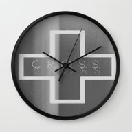 Wall Clock featuring Cross by Jane Lacey Smith