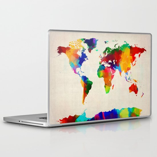 Map of the World Map Painting Laptop & iPad Skin