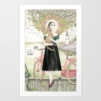 Girl And Cat With Pink B… Art Print