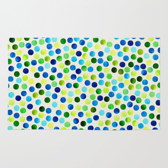 Watercolor Dots_Aqua by Jacqueline and Garima Area & Throw Rug