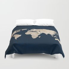 Inverted Rustic World Map Duvet Cover