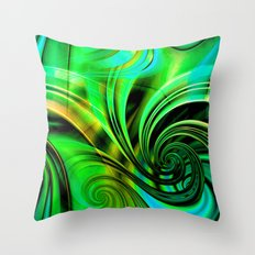 Curls Deluxe Green Throw Pillow