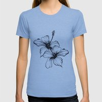 Aqua Floral Womens Fitted Tee Athletic Blue SMALL