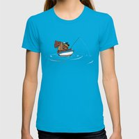 Bear Fishing Womens Fitted Tee Teal SMALL
