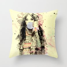 Bubble Gum Gangsters Throw Pillow