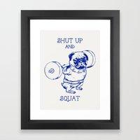 Pug Squat Framed Art Print