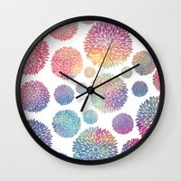 Watercolor Flowers Wall Clock