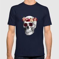 Skull and Flowers  Mens Fitted Tee Navy SMALL