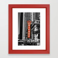 Black and White with Red Chicago Theatre sign Photography Framed Art Print