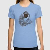 Man of Many Words Womens Fitted Tee Tri-Blue SMALL
