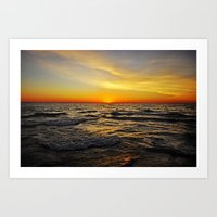 Sunset Over Lake Huron Art Print