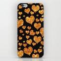 Valentine's | Girly Gold Glitter Cute Love hearts Pattern Black iPhone & iPod Skin