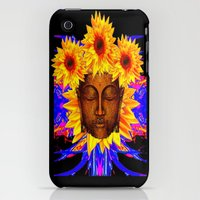 iPhone 3Gs & iPhone 3G Cases featuring Bronze Buddha Head & Sunflowers Black-Yellow-BLue Abstract by sharlesart