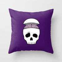Brainy Skull Throw Pillow