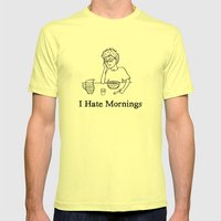 I Hate Mornings Mens Fitted Tee Lemon SMALL