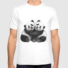 Panda's Hugs G143 MEDIUM Mens Fitted Tee White