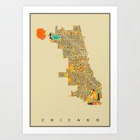 chicago Art Prints featuring Chicago by Nicksman