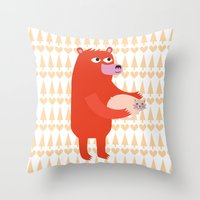 Bear And Cat BFF Throw Pillow