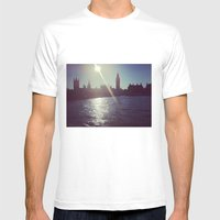 Big Ben Silhouette   Mens Fitted Tee White SMALL