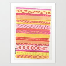 Tribal#1 (Orange/Pink/Yellow) Art Print