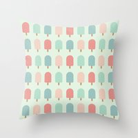 POPSICLES - BLUE Throw Pillow