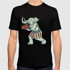 Republican Elephant Boxer Mascot Isolated Etching Mens Fitted Tee Black SMALL