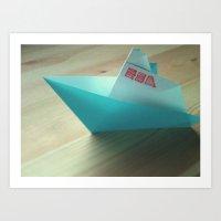 Origami love boat Art Print