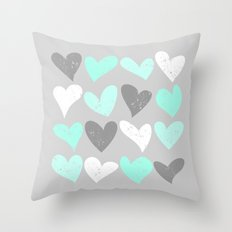 Mint White Grey Grunge H… Throw Pillow
