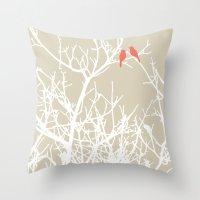 Bird on a Branch III Throw Pillow