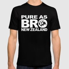 Pure as BRO  New Zealand Kiwi SMALL Black Mens Fitted Tee