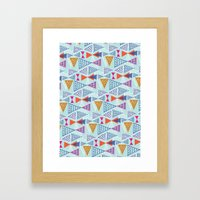 Geometric Mid Century Modern Triangles 2 Framed Art Print