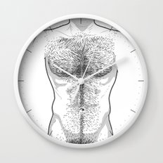 Hairy Torso - White Wall Clock