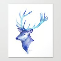 Blue Antlers Canvas Print