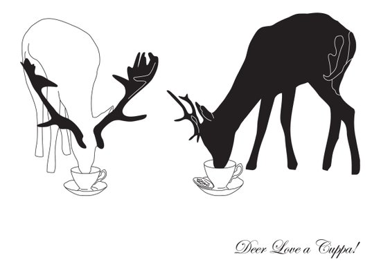 Deer love a Cuppa! Art Print