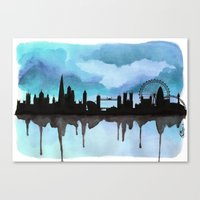 Turquoise London Skyline 2 Canvas Print