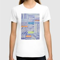T-shirts featuring Blue Panel with Colorful Rectangles  by Heidi Capitaine
