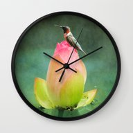 Hummingbird And The Lotu… Wall Clock