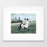 Couple On Scooter Framed Art Print