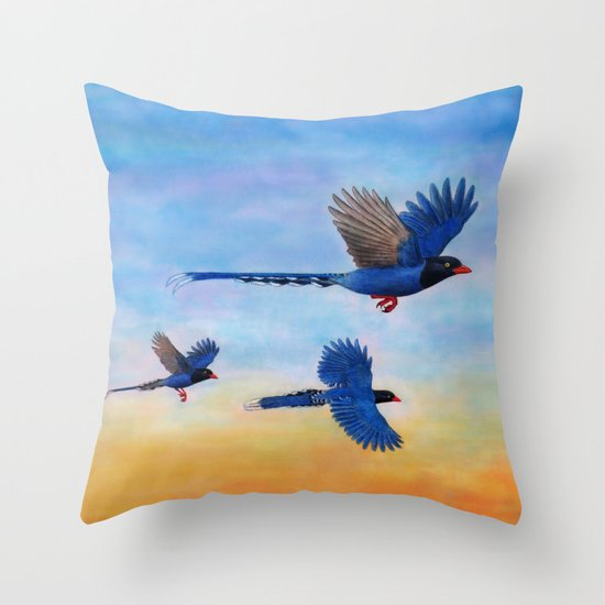 Taiwan Blue Magpies (2) Throw Pillow