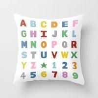 Alphabet On White Throw Pillow