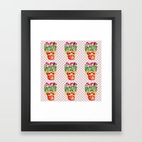 Polka Dots and Pots of Dried Roses Framed Art Print