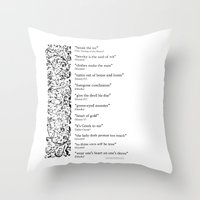 Words Words Words - William Shakespeare Quotations print Throw Pillow