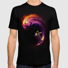 Space Surfing Mens Fitted Tee Black LARGE