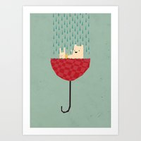 Umbrella Bath Time! Art Print
