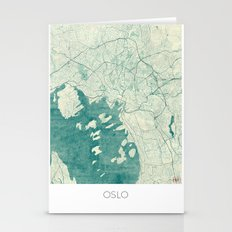Oslo Map Blue Vintage Stationery Cards