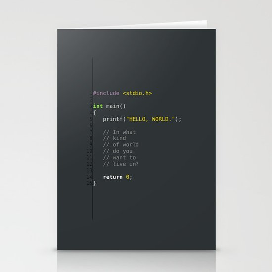 programmer's choice, C nerd. Stationery Card