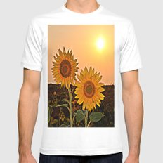 Couple Of Sunflowers Mens Fitted Tee White SMALL